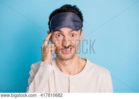 Portrait Of Nice Funny Confused Guy Wearing Sleep Mask Oops Mistake Touching Temple Dint Know Isolat