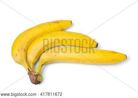 Yellow Bananas Isolated On White Background. Ripe Bananas. Bunch Of Yellow Bananas On A White Surfac