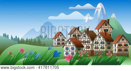Spring Mountain Landscape With Half-timbered Houses. Vector Illustration On The Theme Of The Bavaria