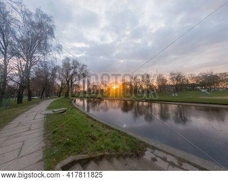Beautiful Sunrise On Radunia River In Pruszcz Gdanski, Poland.
