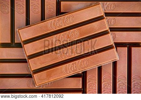 Tambov, Russian Federation - March 19, 2021 Five Kitkat Chocolate Bars. Full Frame.