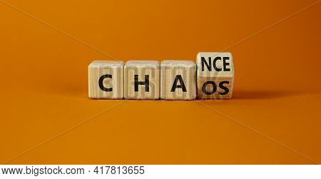 Chance Or Chaos Symbol. Turned A Wooden Cube And Changed The Word 'chaos' To 'chance'. Beautiful Ora