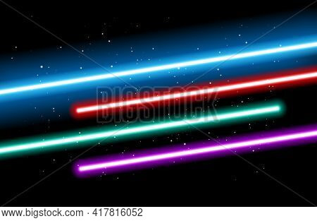 May The 4th Background - Blue, Red, Green, Red And Purple Light Future Swords On Black Starry Space