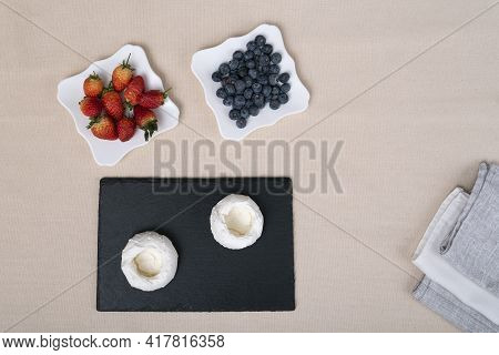Ingredients For Making Berry Cakes. Cake Anna Pavlova. Top View