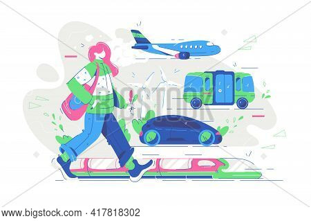 Renewable Electrified City Transport Vector Illustration. Electric Public Transport, Car, Bus, Train