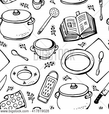 Kitchen Vector Pattern, Seamless Collection Of Hand Drawn Kitchen Related Objects Isolated On White