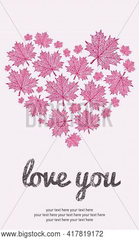 Maple Leaf Silhouette Illustration, Vector Maple Card Love You Background