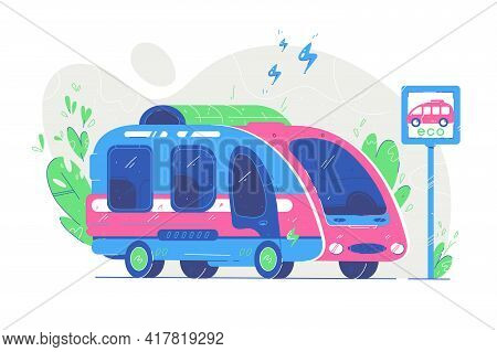 Modern Electric Bus At Stop Vector Illustration. Ecological Public Vehicle On Charge Station Flat St