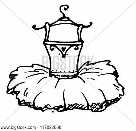 Classic Sketch Icon With Black Doodle Ballet Tutu Hanger On White Background.vector Isolated Element