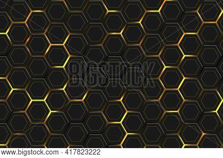 Hexagonal Dark Abstract Background. Bright Yellow Light Energy Flashing Under The Hexagon In Modern