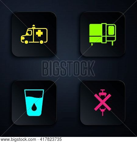 Set No Doping Syringe, Ambulance And Emergency Car, Glass With Water And Bed. Black Square Button. V
