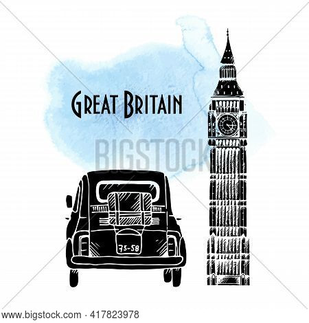 Red Old Car And Elizabeth Tower In London Vector Illustration, Hand Drawn Retro Automobile On Waterc