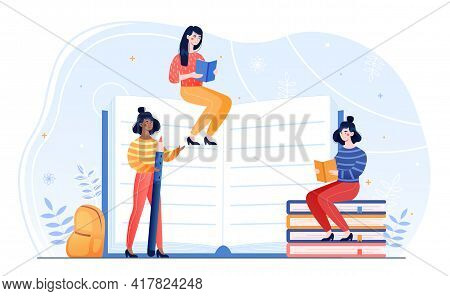 Young Female Characters Are Sitting On Pile Of Books With Open Book In Hands. Concept Of Learning, D