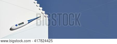 Medicine Concept. Medical Thermometer. Blue And White Cube. Flu Pills. Healthcare Supplement. Fever