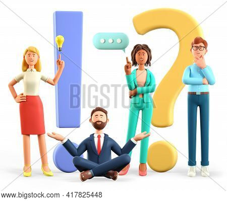 3d Illustration Of Thinking People With Huge Exclamation And Question Marks In Support Center. Multi
