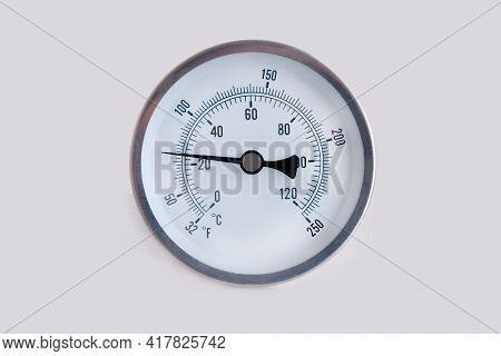 Round Thermometer, 25 Degrees Celsius And 65 Degrees Fahrenheit. Cool Metal Air Temperature Thermome