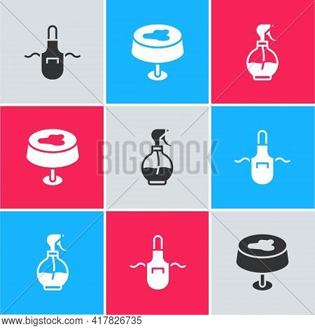 Set Kitchen Apron, Stain The Tablecloth And Water Spray Bottle Icon. Vector