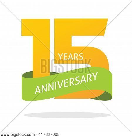 15 Years Anniversary Celebrating Vector Logo Icon In Yellow Orange Green Color, Number 15th Year Bir