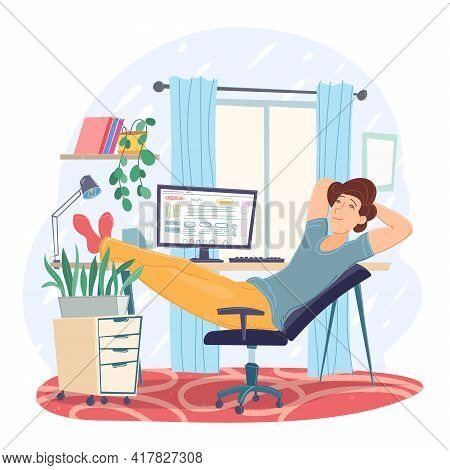 Freelance Man Working Remotely Use Laptop At Comfortable Workplace Chair. Self Employed Person At Ho