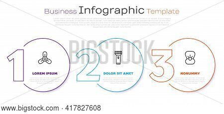 Set Line Boat Propeller, Turbine, Flashlight And Shell With Pearl. Business Infographic Template. Ve