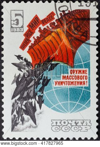 Ussr - Circa 1983: Postage Stamp 'peaceful Demonstration' Printed In Ussr. Series: 'down With Nuclea