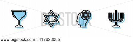Set Line Orthodox Jewish Hat, Jewish Goblet, Star Of David And Hanukkah Menorah Icon. Vector