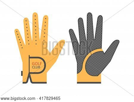 Golf Glove. Golfer Sports Equipment. Flat Style. Isolated On Green Background