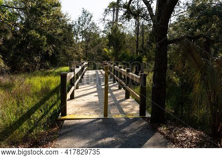 Wooden Bridge In The Woods