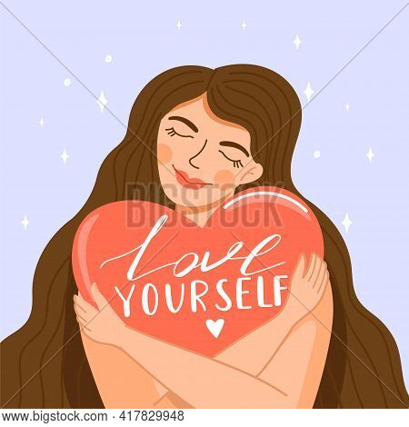 Self Care, Self Acceptance, Love Yourself Or Body Positive Concept. Cute Girl Crosses Hands And Hugg