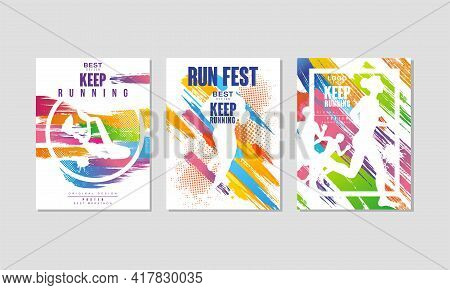 Run Fest Poster For Marathon And Running Competition Vector Set