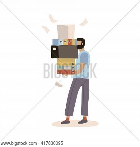 Stressed Employee Worker Holding Big Pile Of Office Folders, Documents. Overworked Man With Stacks O