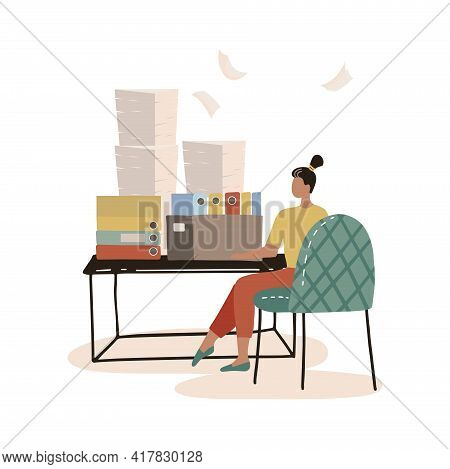 Busy Secretary Sitting At Desk With Stack Of Folders And Pile Of Papers Isolated Flat Vector Illustr
