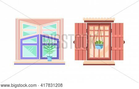 Hinged Or Sash Window With Shutters And Flower Pot Rested On Sill Vector Set.