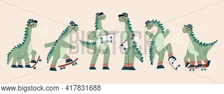 Set Of Cool Skateboard Dinosaur Collection Of Active Skating Dino Boy. Clipart Of Summer Sport Of Cu