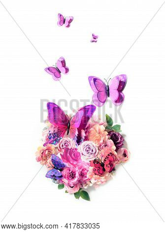 Happy Mothers Day. Bouquet Of Colorful Assorted Flowers In Heart Shape On White Background And Butte