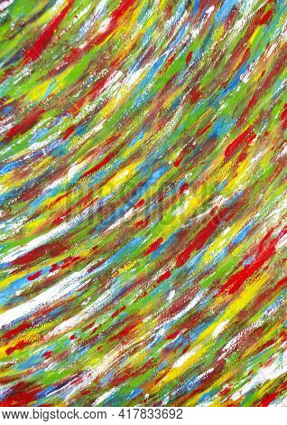 Bright Variegated Multicolored Background Of Brush Strokes With Different Paint