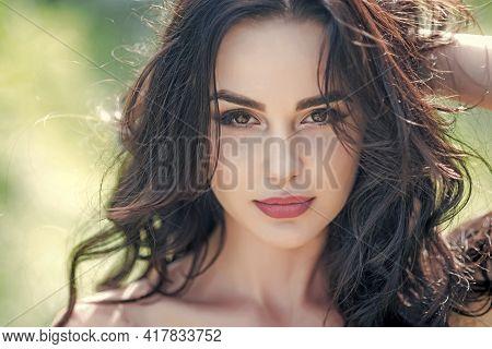 Sexy Woman Face Closeup. Beauty Female Model, Sensual Girl.