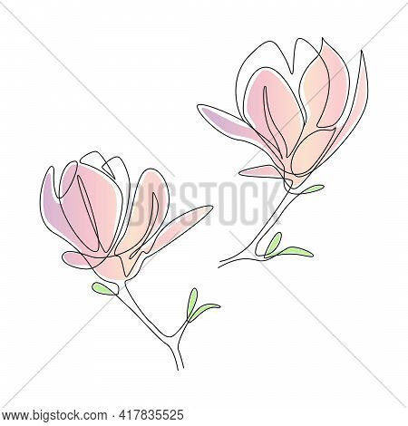 Magnolia Flowers In One Line Art Style. Continuous Drawing Can Used For Icon, Wall Art Prints, Poste