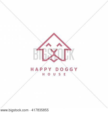 Abstract House And Doggy With Smile Expression, Simple, Minimalist Logo Design Illustration. Graphic