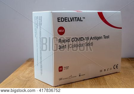 Bamberg, Germany - 21.4.2021. View Of A Large Pack Of Corona Rapid Tests By Edelvital. The Rapid Tes