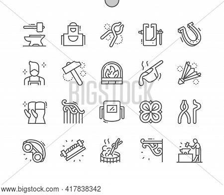 Blacksmith. Horseshoe, Hammer, Molten Metal. Forging Machine. Handwork, Craftsmanship, Forge, Steel