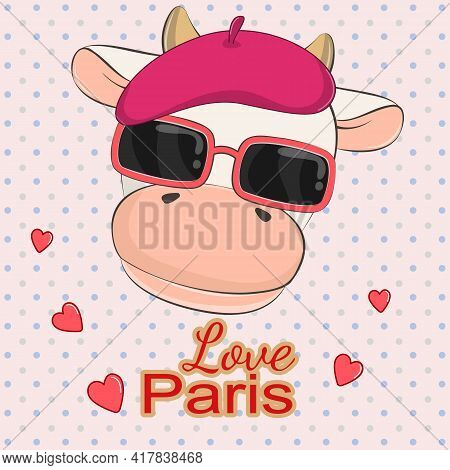 Lovely Beautiful Cow In Sunglasses And Pink Beret.