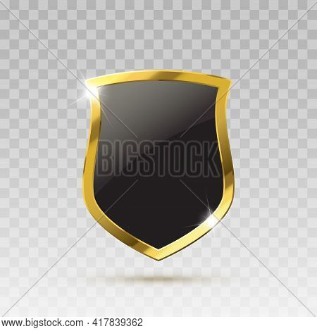 Gold And Black Isolated Shield. Guard Protection Vector Illustration. Vector Illustration