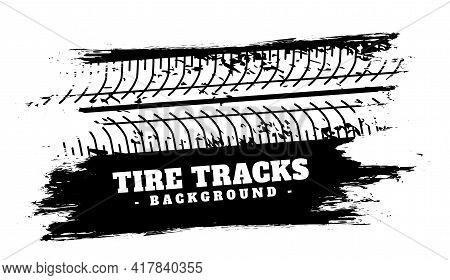 Absract Vehicle Tire Track Impression Background Design Vector Illustration