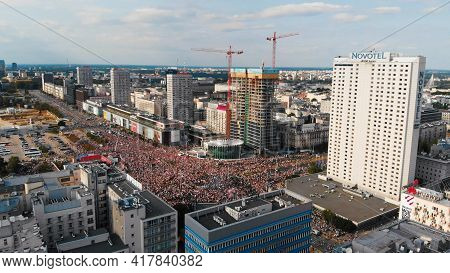 Drone View Of Streets Full Of People. Rondo Dmowskiego Square During Warsaw Uprising Anniversary Cer