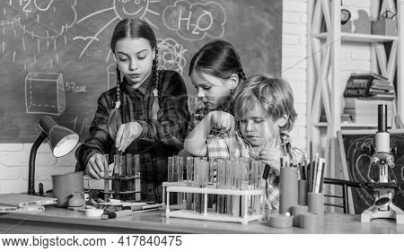 Science And Education. Chemistry Lab. Back To School. Happy Children. Laboratory Research - Scientif
