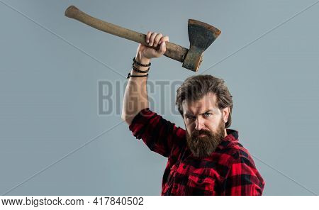 Very Serious. Masculinity. Barbershop And Hairdresser. Brutal Guy With Long Beard. Brutal Mature Hip