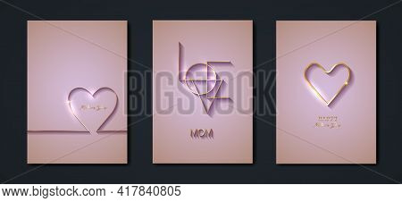 Happy Mothers Day Vector Set Greeting Card. Gold Heart On Pink Background. Golden Holiday Poster Wit