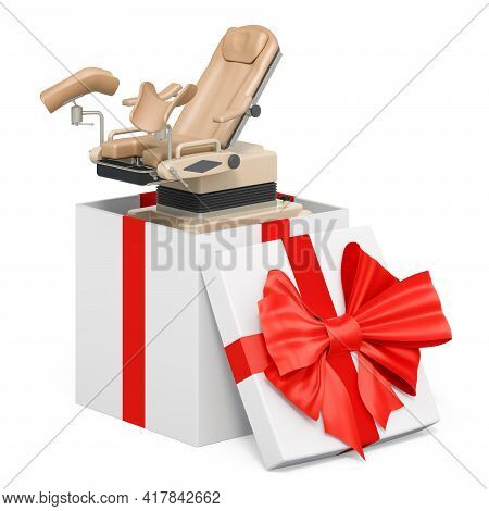 Gynecological Examination Chair Inside Gift Box, Gynecological Examination In Gift Concept, 3d Rende