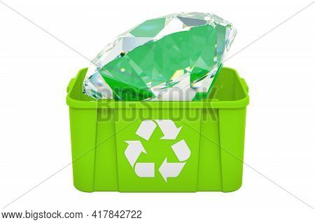 Recycling Trashcan With Diamond. 3d Rendering Isolated On White Background